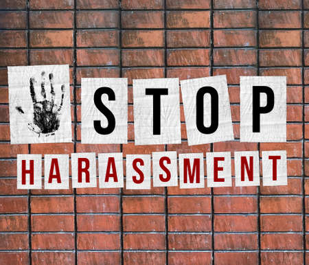 Stop harassment of women concept. Sexual harassment poster concept - Illustration with message on White brick wall Background