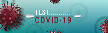 Coronavirus Covid-19 Test banner illustration - Microbiology And Virology Concept 写真素材