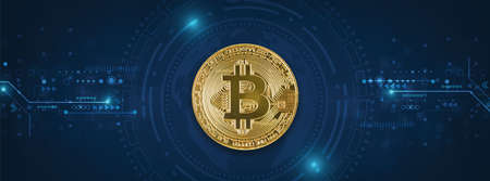 Golden bitcoin on blue tech circuits background - Crypto coins symbol 写真素材