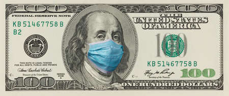 One Hundred Dollar Bill with Surgical Mask on Benjamin Franklin Mouth - Horizontal Banner Design