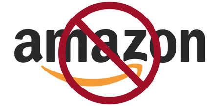 Amazon Boycott concept with logo and red sign Boycott