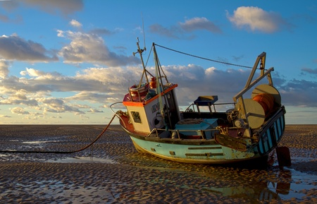 work boat: Boat on a Mudbank - HDR