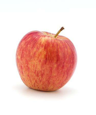 白地に赤い熟したリンゴ 写真素材
