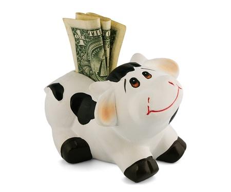 変な牛の形でお金で貯金