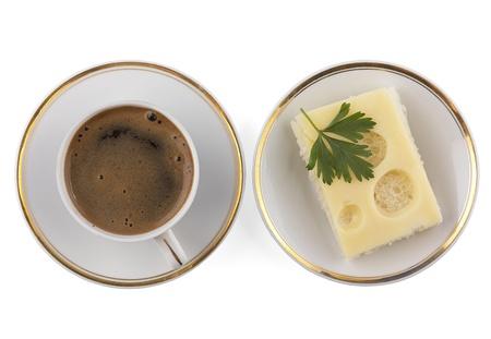 一杯のコーヒーとサンドイッチ プレート、 写真素材