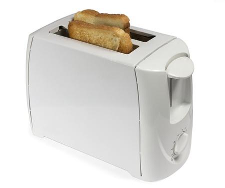 白い背景の上の 2 つのトーストをトースター 写真素材