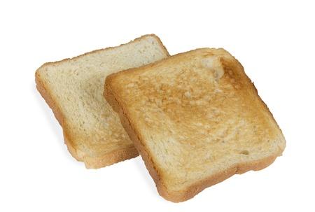 ホワイトに分離された 2 つのトースト