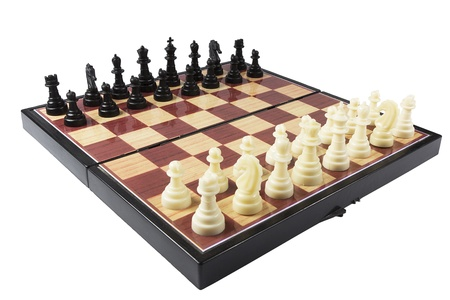 白い背景に分離 (プラモデル) チェス