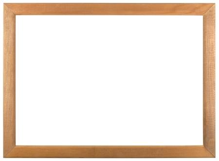 白い背景に分離された木製フレーム 写真素材