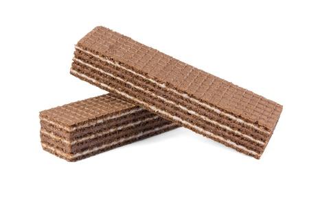 白い背景に分離されたチョコレート ウエハース