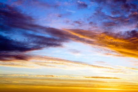 colorful dramatic sky with clouds at dawn Stock Photo