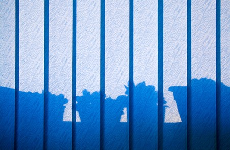 Shadow Play as a Decorative Element on Vertical Blinds Stock Photo