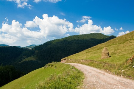 Mountain Road Landscape, Garda de Sus, Scarisoara, Apuseni Mountains, Romania Stock Photo