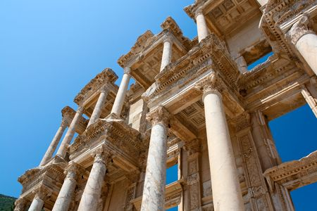 Facade of ancient Celsus Library in Ephesus, Turkey