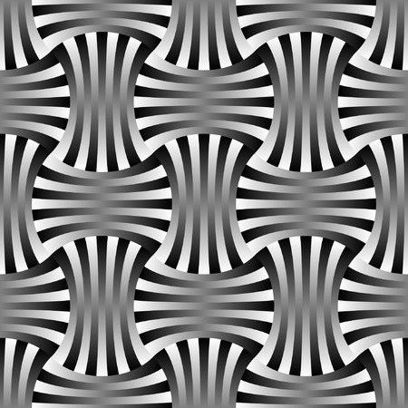 Abstract black and white woven seamless design Illustration