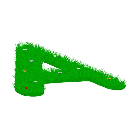 majuscule: Capital letter  A  made of grass and flowers, viewed from above left Illustration