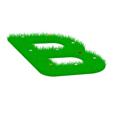 Capital letter B made of grass and flowers, viewed from above left Illustration