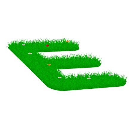 majuscule: Capital letter E made of grass and flowers, viewed from above left Illustration