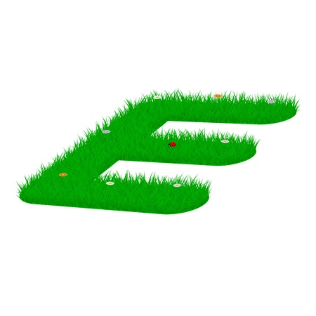 majuscule: Capital letter E made of grass and flowers, viewed from above right Illustration