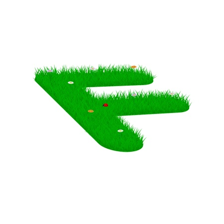 majuscule: Capital letter F made of grass and flowers, viewed from above left