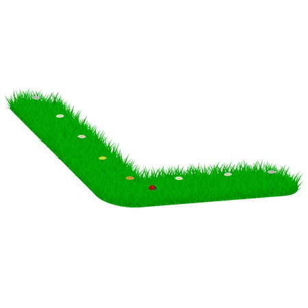 majuscule: Capital letter L made of grass and flowers, viewed from above left Illustration