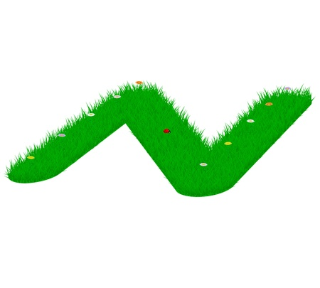 majuscule: Capital letter N made of grass and flowers, viewed from above right Illustration