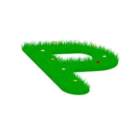 majuscule: Capital letter P made of grass and flowers, viewed from above left