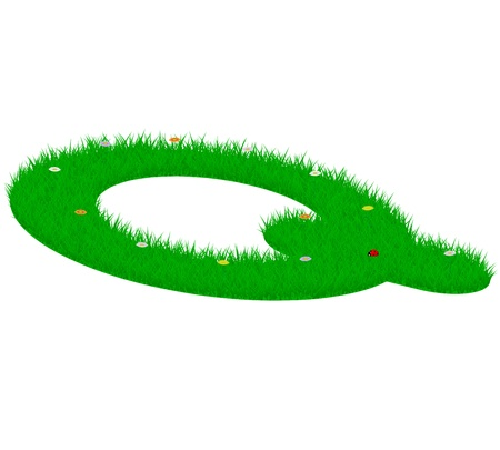majuscule: Capital letter Q made of grass and flowers, viewed from above left Illustration
