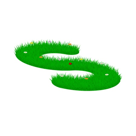 majuscule: Capital letter S made of grass and flowers, viewed from above left Illustration
