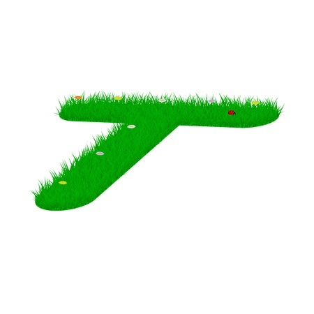 majuscule: Capital letter T made of grass and flowers, viewed from above right Illustration