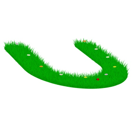 majuscule: Capital letter U made of grass and flowers, viewed from above left