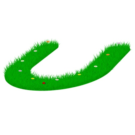 majuscule: Capital letter U made of grass and flowers, viewed from above right