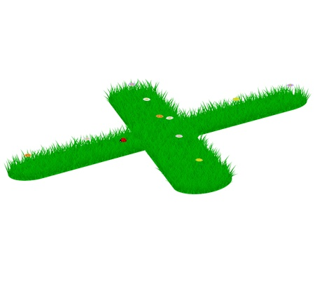 majuscule: Capital letter X made of grass and flowers, viewed from above right
