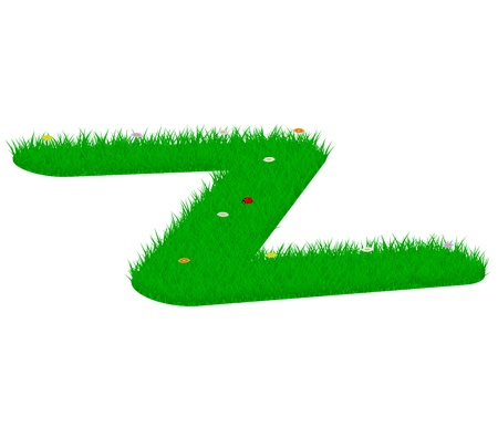 Capital letter Z made of grass and flowers, viewed from above left Illustration