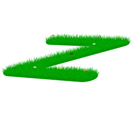 majuscule: Capital letter Z made of grass and flowers, viewed from above right
