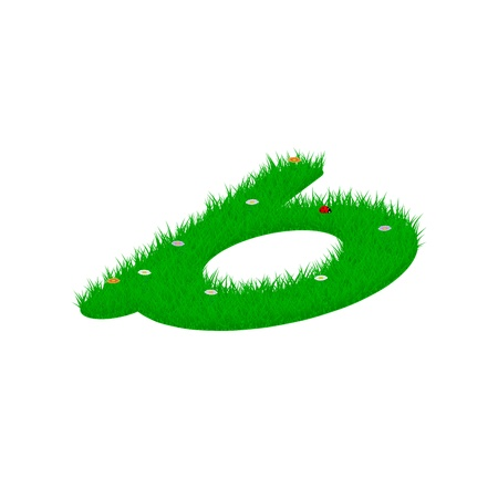 Small letter b made of grass and flowers, viewed from above right Illustration