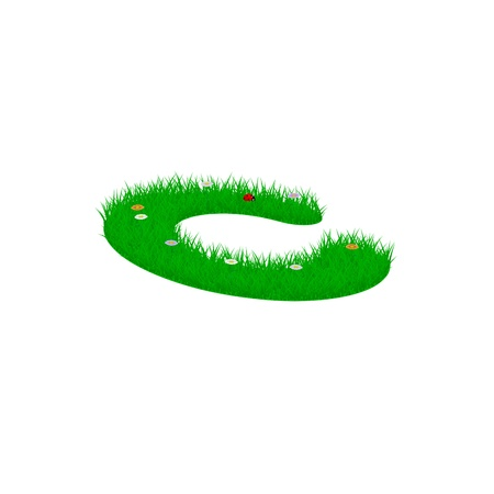 minuscule: Small letter c made of grass and flowers, viewed from above left