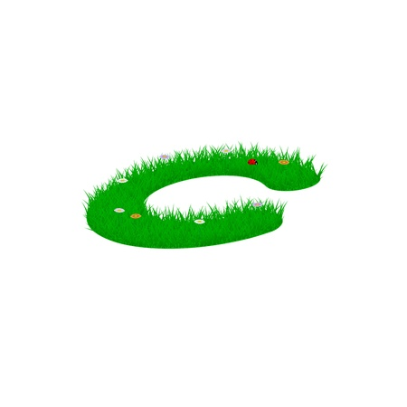 Small letter c made of grass and flowers, viewed from above right