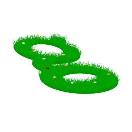 storey: Small letter double storey g made of grass and flowers, viewed from above left Illustration