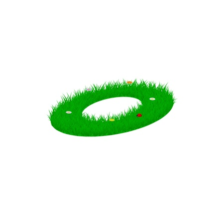 Small letter o made of grass and flowers, viewed from above right Illustration