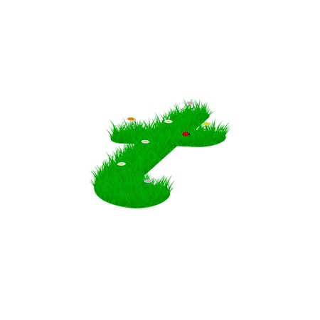 Small letter t made of grass and flowers, viewed from above right