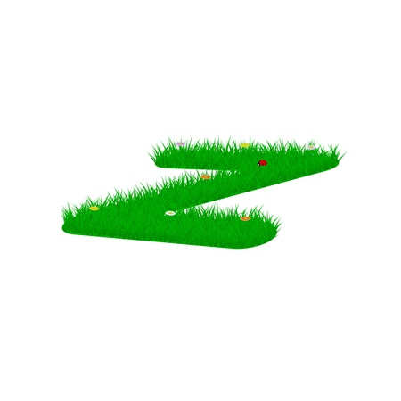 minuscule: Small letter z made of grass and flowers, viewed from above right Illustration