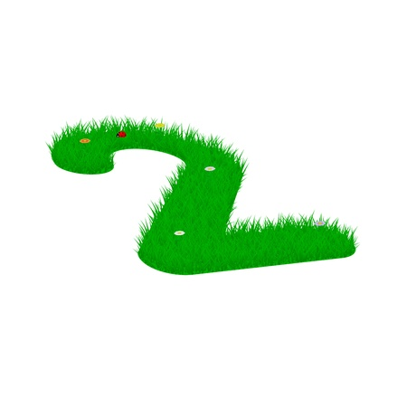 Digit symbol 2 made of grass and flowers, viewed from above left Illustration