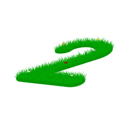 Digit symbol 2 made of grass and flowers, viewed from above right