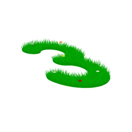 Digit symbol 3 made of grass and flowers, viewed from above left