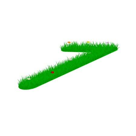 Digit symbol 7 made of grass and flowers, viewed from above right Illustration