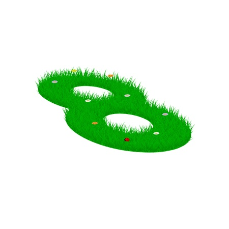 Digit symbol 8 made of grass and flowers, viewed from above left Illustration
