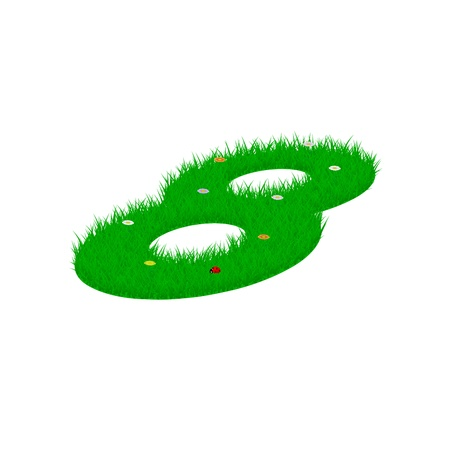 Digit symbol 8 made of grass and flowers, viewed from above right Illustration
