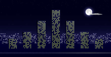 gaussian distribution: City buildings in the night as a Gaussian distribution