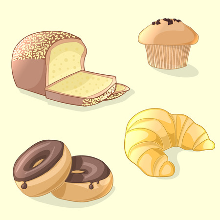 Fresh bakery set in cartoon style. Croissant, donuts, bread and muffin. Vector illustration